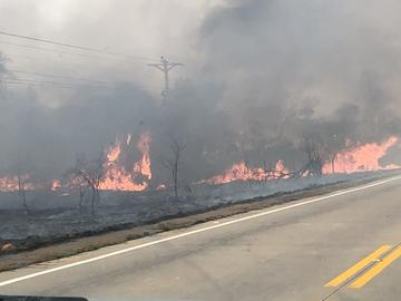 A high intensity fire in 2018. The flames are rising high and destroying almost everything in their path, threatening the power lines as well.