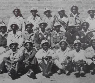 Black and white image of copperbelt mineworkers