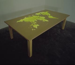 Mona Hatoum, Plotting Table, 1998, wood, MDF, UV lights and paint, Arts Council Collection, Southbank Centre, London © the artist